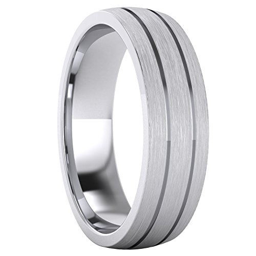 Heavy Solid Sterling Silver 6mm Unisex Wedding Band Comfort Fit Domed Ring Two Grooves Brushed Surface (11) by LANDA JEWEL (Image #2)