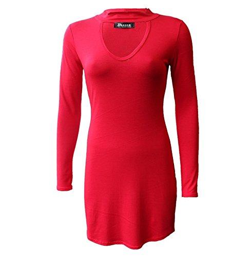 Femmes Robe Longue Moulante Col Ras Du Cou À Manches V Rouge