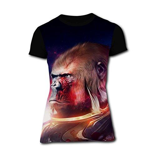 SexyTops Gorilla Star Warrior Design T-Shirt Slim Tee Tops for Women XXL