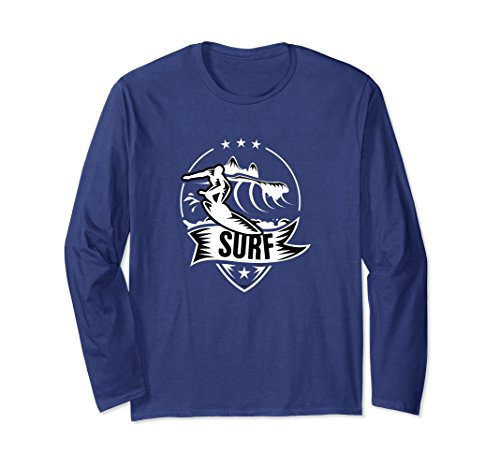 Extreme Water Sports (Unisex SURF Surfer Silhouette Extreme Water Sport Novelty T-Shirt Large Navy)