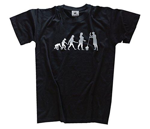 Shirtzshop T-Shirt Silber Edition Girlie Evolution Reinigungskraft Putzfrau, Schwarz, XXXL, 4056543352645