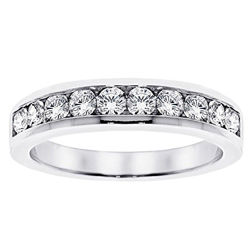 [1.00 CT TW Channel Set Round Diamond Anniversary Wedding Ring in 14k White Gold - Size 8.5] (Si2 Round Diamond Eternity Ring)