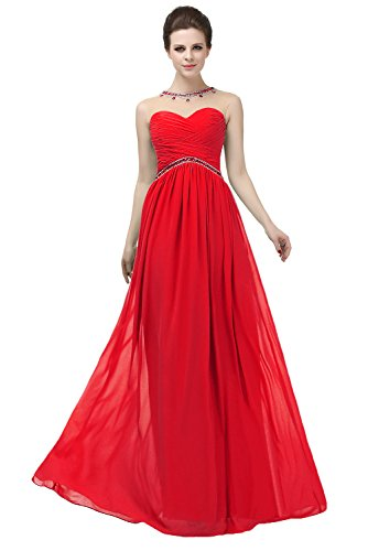 Crystals s Women Illusion Dress Bridesmaid Long Empire Red Neck Angelstormy Pleated OEq7wx7