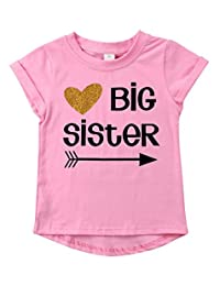 SUPEYA Baby Girls Big Sister Gift T Shirt Cute Graphic Shirt Short Sleeve Blouse Tee