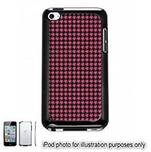Pink Houndstooth Check Pattern Apple iPod 4 Touch Hard Case Cover Shell Black 4th Generation