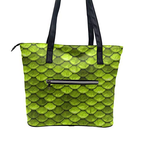 Leather Beach Bags for Women, Fashion and Waterproof Beautiful Lime Green Mermaid Fish Scales Shoulder Handbag Durable and Lightweight Top Handle Bag with Pocket and Top Zipper