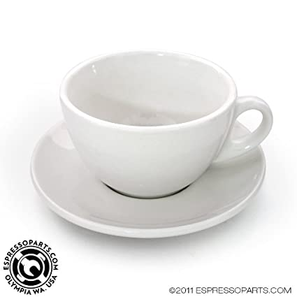 Amazon com | Latte Cup & Saucer White Cafe Style - Set of 6