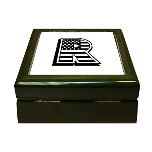 Initial Tile Box (Style in Print R American Flag Initial Monogram Letter R 4