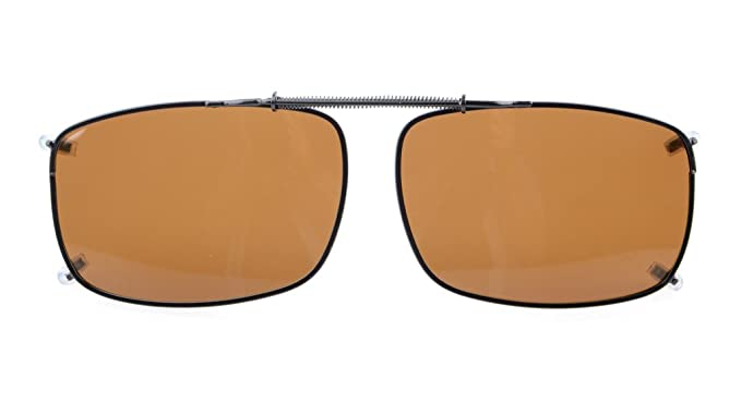 e664e57107a Eyekepper 58x38 MM Clip On Sunglasses With Spring Draw Bar Polarized Brown  Lens  Amazon.co.uk  Clothing