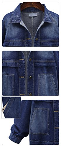 Casuale Denim Giacca Manica Lunga Corto Jeans Cappotti Retro Blu Autunno Giacche Dooxi Donna Xqfwx0C