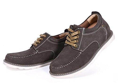 Happyshop (tm) Hommes Ascenseur Chaussure Daim En Cuir Bottes Courtes 7cm Hauteur Augmentant Chaussures Kaki (style B)