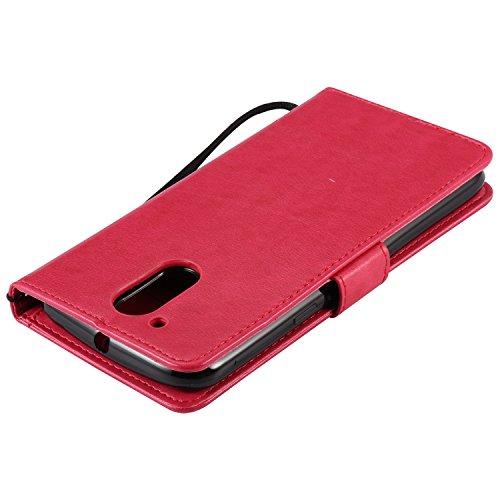 I-02 Moto G4 / G4 Plus Coque Supporter Flip PU Cuir Pochette Portefeuille Housse Coque Etui pour Motorola Moto G4 / G4 Plus avec Crédit Carte Tenant Fente Dooki