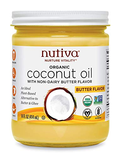 Nutiva Organic Coconut Oil with Butter Flavor from non-GMO, Steam Refined, Sustainably Farmed Coconuts, 14-ounce, Pack of 2