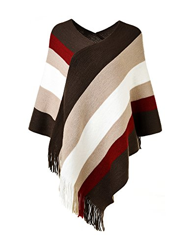 Ferand Women's Elegant Knitted Poncho Top with Stripe Patterns and Fringed Sides, Brown & Beige