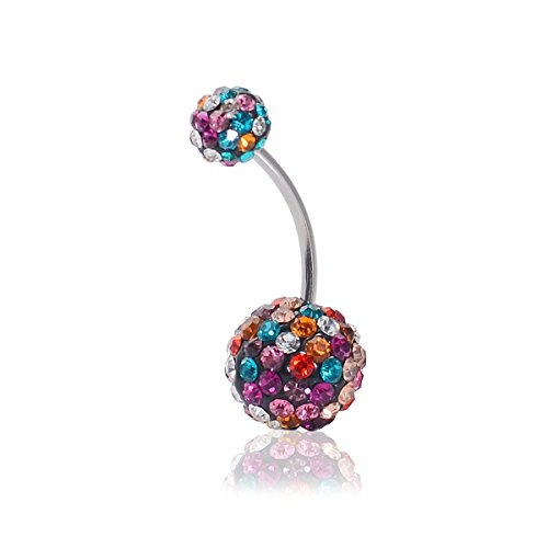 - CrazyPiercing Crystal Belly Button Ring, Stainless Steel Navel Piercing Ring Stud Piercing, Colorful Rhinestones Ball Navel Ring 16G