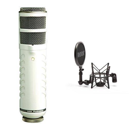 (Rode Podcaster Dynamisches Großmembranmikrofon mit USB-Anschluss für Mac und PC + Røde elastische Mikrofonhalterung SM6 mit integriertem Popshield Bundle)
