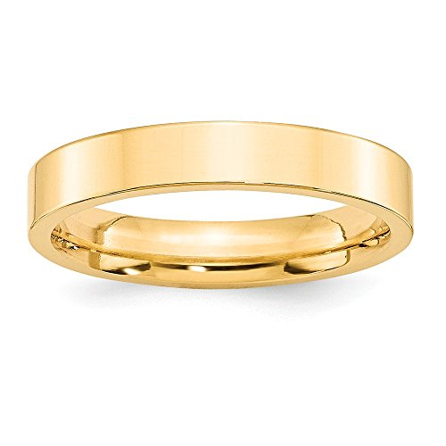 Band Comfort Wedding Fit Flat - Jewelry Stores Network Solid 14k Yellow Gold 4 mm Flat Comfort Fit Wedding Band Ring