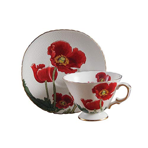 (Ceramics Fine Bone China Corn Poppy Flower Coffee Mug Teacup with Saucer)