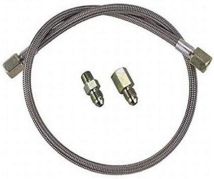 """4 Black Steel Braided Pressure Gauge Line Kit Oil Water Fuel Gauges 36/"""" Inch"""