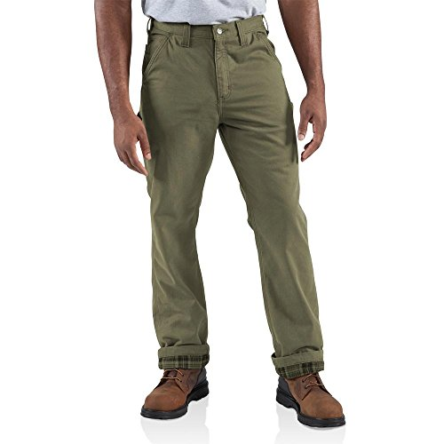 Carhartt Men's Washed Twill Dungaree Flannel Lined,Army Green,32 x 32 by Carhartt