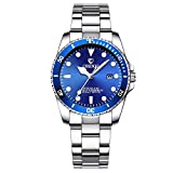 Women's Classic Fashion Silver Stainless Steel Watches Waterproof Date Luminous Lady Dress Wrist Watch (Blue)