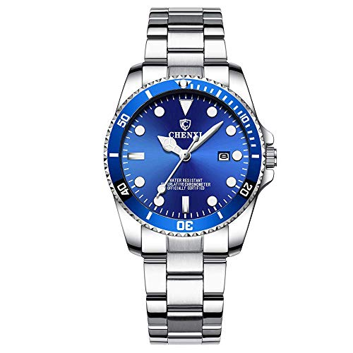 - Women's Classic Fashion Silver Stainless Steel Watches Waterproof Date Luminous Lady Dress Wrist Watch (Blue)