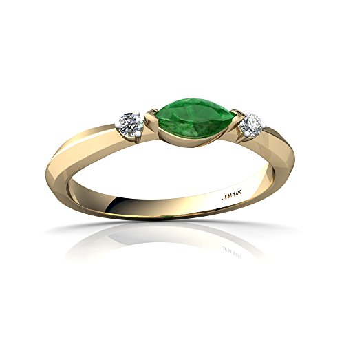 14kt Yellow Gold Emerald and Diamond 6x3mm Marquise Art Deco Ring - Size 6 ()
