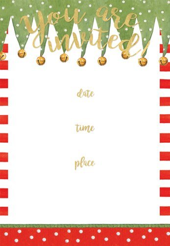 Holiday Cocktail Party Invitations (Christmas Party Invitations Party Invites Christmas Stocking Stripes Fill In Lines Pk 8)