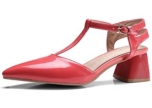 YCMDM tacchi alti donna I nuovi sandali in pelle verniciata estate hanno puntato le scarpe di grandi dimensioni , red , 32 custom 2-4 days do not return