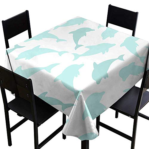 Square Tablecloth Plaid Seamless Pattern with Dolphin on White Design for Holiday Greeting Card and Invitation of Baby Shower Birthday Child Clothes,W36 x L36 for Spring