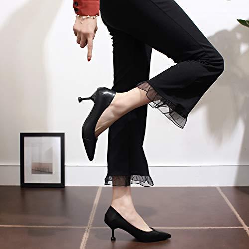 Yukun Tacón La Zapatos El Los Ajuste Caída Moda Fino Mujer Profesionales Alto Y De Puntiagudos Alto Gato Black Delgados Con rEzPwrqA
