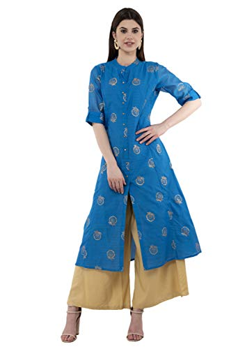 Nepali Cotton - Lagi Women Designer Straight A-Line Kurta Kurtis top Tunic Dresses Polly Silk Rayon Cotton Kurtis Kurta (2XL, Blue (RK2135B))