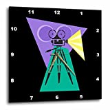 3dRose dpp_38376_3 Retro Movie Camera Wall Clock, 15 by 15-Inch