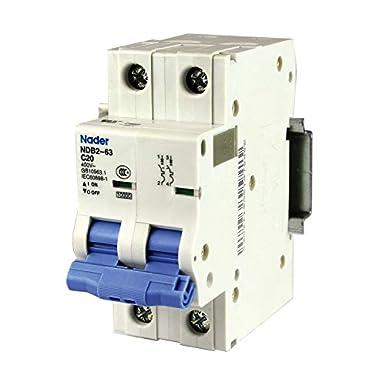 3 Pole 240//480V 32 amp UL 1077 Supplemental Protection General Purpose Trip Curve C Nader ASI NDB2-63C32-3 DIN Rail Mount Circuit Breaker