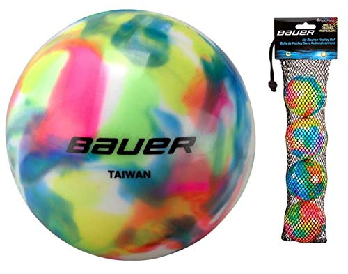 Bauer 4 Pack No Bounce Street Hockey Balls, Cool or Warm Weather (Warm Weather, Multi-Colored)