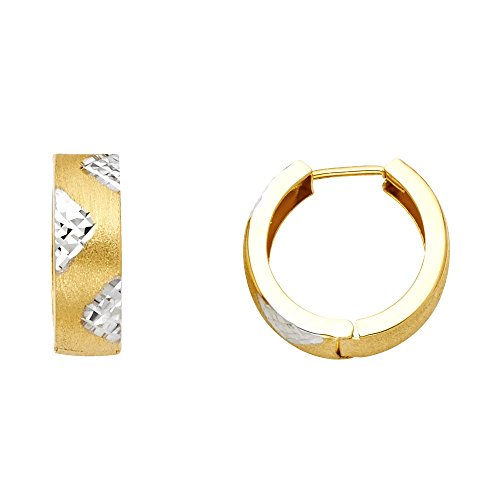 Paradise Jewelers 14K Solid Yellow Gold 5mm Engraved Triangles Huggie Earrings 14k Yellow Gold Triangle Hoop