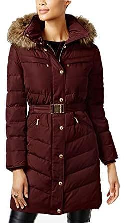 Amazon.com: MICHAEL Michael Kors Faux-Fur-Trim Belted ...
