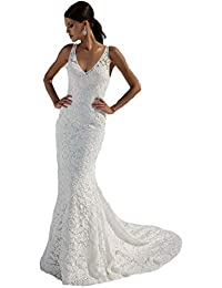 Women's Double V-Neck Bridal Gowns Lace Beach Wedding Dress