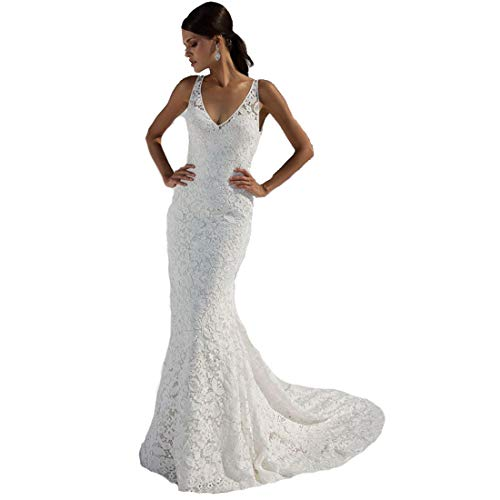 SIQINZHENG Women's Double V-Neck Bridal Gowns Lace Beach Wedding Dress White