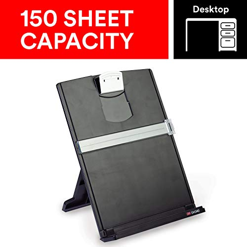 - 3M Desktop Document Holder with Adjustable Clip, Holds Letter, Legal and A4 Documents, Bottom Ledge Has Lip to Keep up to 150 Sheets Securely in Place, Folds Flat for Storage, Black (DH340MB)