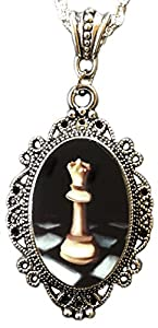 Alkemie White Queen Chess Cameo Pendant Necklace