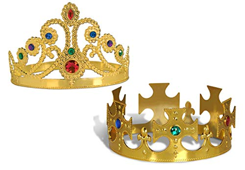 Plastic Gold Jeweled King's Crown & Plastic Jeweled Queen's Tiara | Mardi Gras Costume Accessories, Party Supply ()