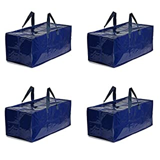 Earthwise Extra Large Heavy Duty Reusable Storage Bags Moving Bag w/Zipper Closure (Set of 4) Extra Backpack Carrying Handles - Compatible with IKEA Frakta Hand Carts Storage Boxes Bins Cubes