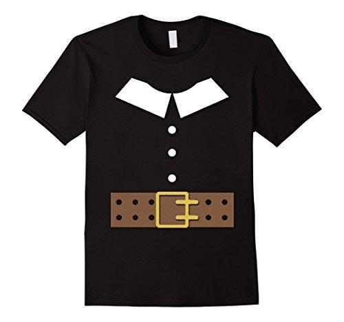 Men's Thanksgiving Pilgrim Costume Shirt Large Black (Pilgrim Costume Toddler)