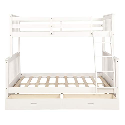 ALI VIRGO Wood Twin Over Full Bunk beds, with 2 Storage Drawers, Sturdy Wooden Frame Two Cot Ladder and Safety Rails Convenience to Take Care of Your Children, White