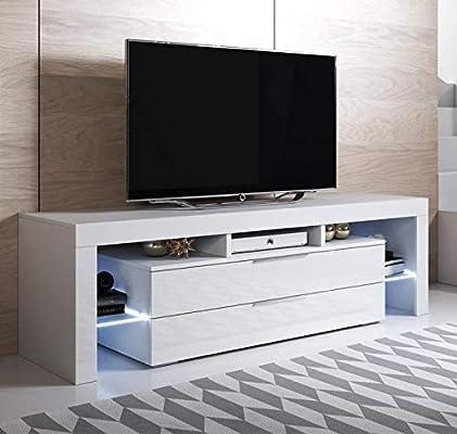 muebles bonitos Mueble para TV Modelo Selma (160 x 53 cm) Color Blanco con LED RGB: Amazon.es: Hogar