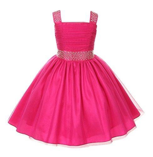 Cinderella Couture Big Girls Sparkling Rhinestone Party Dress 8 Fuchsia 1195