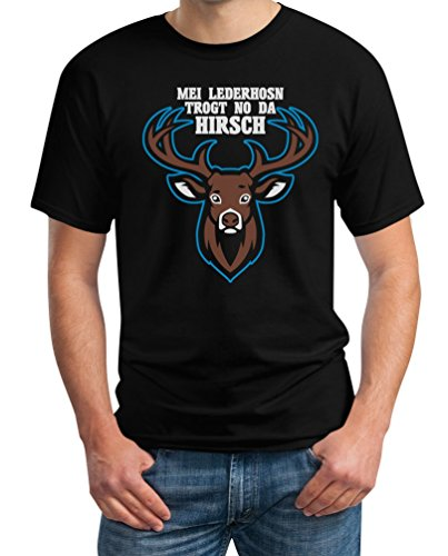 Mei Lederhosn Trogt No Da Hirsch - Witziges Oktoberfest Shirt T-Shirt Medium Schwarz