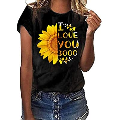 TUSANG Women Tees I Love You 3000 Women Plus Size Print Shirt Short Sleeve T Shirt Blouse Tops Slim Fit Tunic