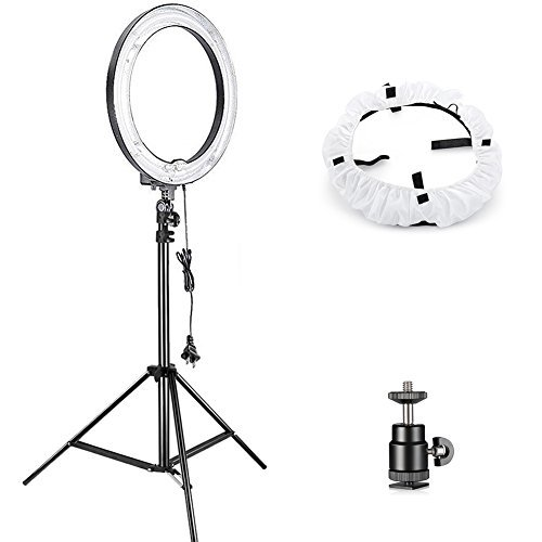Neewer Camera Photo Studio YouTube Vine Video Lightning Kit: 18 inches/46 centimeters 75W Dimmable Ring Light,75 inches/190 centimeters Light Stand, Diffuser Soft Box, Ball Head Hot Shoe Adapter by Neewer
